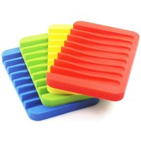 4pcs Waterfall Silicone Soap Dish Colorful Soap Dish Drainer for Shower Bathroom Kitchen - Red, Green, Yellow, Blue