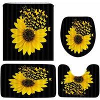 4PCS/Set Sunflower Butterfly Print Shower Curtain Waterproof Bathroom Toilet Cover Mat