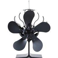 5-Blade Heat Powered Wood Stove Fan Fireplace Fan Furnace Air Blower for Wood/Log Burner /Fireplace Eco Friendly Fan - ASUPERMALL