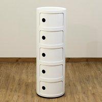 5 Drawer Round Bathroom Cabinet Corner Cupboard Storage Unit Bedside Table White