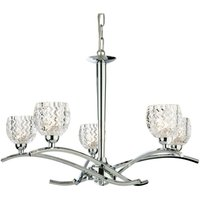 Firstlight Maple - 5 Light Chandelier Chrome, Moulded Clear Glass, G9