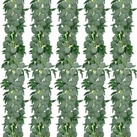 5 Pack 6.6ft Artificial Eucalyptus Garland with Willow Leaves Greenery Vines Hanging Plants for Wedding Party Home Table Indoor Outdoor Decoration