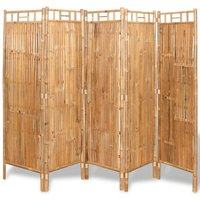 Youthup - 5-Panel Room Divider Bamboo 200x160 cm