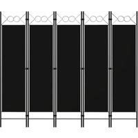 5-Panel Room Divider Black 200x180 cm - YOUTHUP