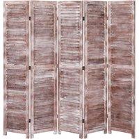 5-Panel Room Divider Brown 175x165 cm Wood