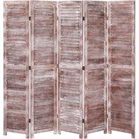 Betterlifegb - 5-Panel Room Divider Brown 175x165 cm Wood16407-Serial number