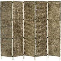 Zqyrlar - 5-Panel Room Divider Brown 193x160 cm Water Hyacinth - Brown