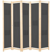 5-Panel Room Divider Grey 200x170x4 cm Fabric - YOUTHUP