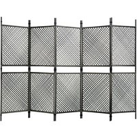5-Panel Room Divider Poly Rattan Anthracite 300x200 cm - Anthracite