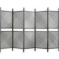 5-Panel Room Divider Poly Rattan Anthracite 300x200 cm - Anthracite - Vidaxl