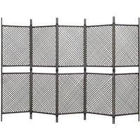 Zqyrlar - 5-Panel Room Divider Poly Rattan Brown 300x200 cm - Brown