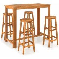 5 Piece Bar Set Solid Acacia Wood - YOUTHUP