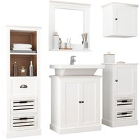 5 Piece Bathroom Furniture Set Solid Wood White - YOUTHUP