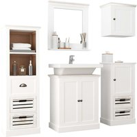 5 Piece Bathroom Furniture Set Solid Wood White - ASUPERMALL