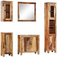5 Piece Bathroom Set Solid Sheesham Wood - VIDAXL