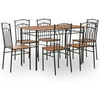 7 Piece Dining Set MDF and Steel Brown - Brown - Vidaxl