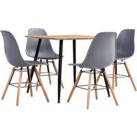 Zqyrlar - 5 Piece Dining Set Plastic Grey - Grey