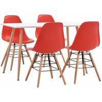 5 Piece Dining Set Plastic Red19407-Serial number