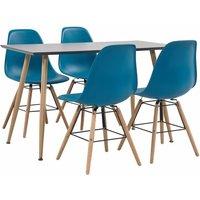 5 Piece Dining Set Plastic Turquoise - Turquoise