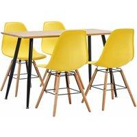 5 Piece Dining Set Plastic Yellow - Yellow