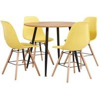 Zqyrlar - 5 Piece Dining Set Plastic Yellow - Yellow