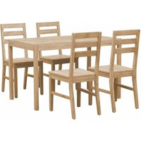 vidaXL 5 Piece Dining Set Solid Acacia Wood - Brown