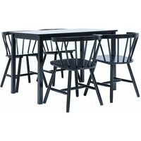 Youthup - 5 Piece Dining Set Solid Rubber Wood Black