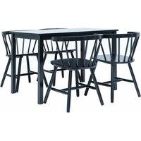 Zqyrlar - 5 Piece Dining Set Solid Rubber Wood Black - Black