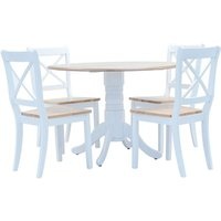 5 Piece Dining Set Solid Rubber Wood White and Brown - White