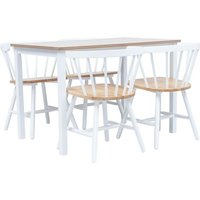 5 Piece Dining Set Solid Rubber Wood White and Brown - White - Vidaxl