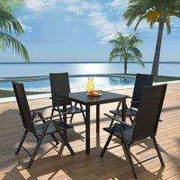 5 Piece Outdoor Dining Set Aluminium and Poly Rattan - Black