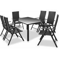 7 Piece Outdoor Dining Set Aluminium and Poly Rattan - VIDAXL