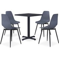 Youthup - 5 Piece Outdoor Dining Set Metal and PP Grey