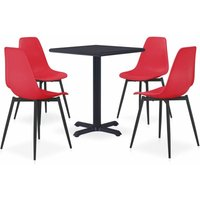 vidaXL 5 Piece Outdoor Dining Set Metal and PP Red - Red