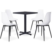 vidaXL 5 Piece Outdoor Dining Set Metal and PP White - White