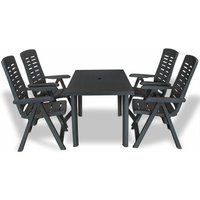 5 Piece Outdoor Dining Set Plastic Anthracite - Grey