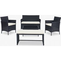 5 Piece Rattan Garden Lounge Set Outdoor Patio with Bench and Table, Black