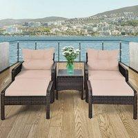 Costway - 5 Piece Rattan Sofa Set Outdoor Indoor Use Wicker Lounge Chair Ottoman W/Cushion