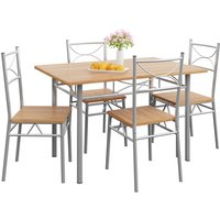 5 Pieces Kitchen Dining Table and Chairs Set »Paul« Beech