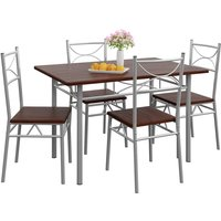 5 Pieces Kitchen Dining Table and Chairs Set »Paul« Eiche dunkel (de)