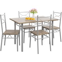 5 Pieces Kitchen Dining Table and Chairs Set »Paul« Oak