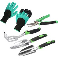 Asupermall - 5 Pieces Garden Tool Set Heavyt Duty Gardening Tools with Non-Slip Handle Metal Garden Gadget Kit Contains Gloves Trowel Shovel Pruning