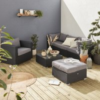 5 seater rattan garden furniture sofa set table, black weave / grey cushions. Conservatory furniture. Ready assembled.