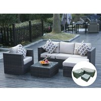 5 Seater New Rattan Garden Furniture Set Brown Sofa Table Chairs With Rain Cover- Patio Conservatory