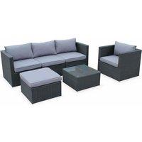Alices Garden - 5-seater rattan garden furniture sofa set table, black weave wicker, grey cushions. Aluminium frame. Ready assembled.
