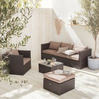 Alices Garden - 5-seater rattan garden furniture sofa set table, brown weave wicker, chocolate cushions. Aluminium frame. Ready assembled