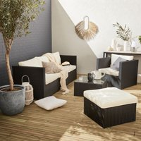 5-seater rattan garden furniture sofa set table, black weave wicker, off white cushions. Aluminium frame. Ready assembled
