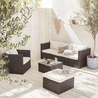 Alices Garden - 5-seater rattan garden furniture sofa set table, brown weave wicker, off white cushions. Aluminium frame. Ready assembled
