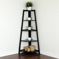 5 Tier Corner Shelf Stand Wood Bookcase Display Storage Home Furniture Black
