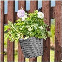 5 x 20cm 8 Inch Rattan Effect Hanging Pot Basket Slate Grey Planter - Smart Garden